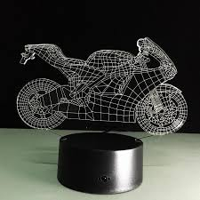 motorcycle home decor 3d motorcycle illusion led desk table lamp nightlight touch remote