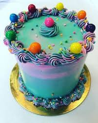 simple cake idea for bubblegum theme craftstore painted then