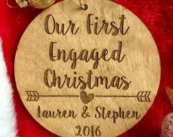 our engaged ornament personalized wood