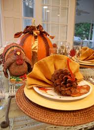 thanksgiving tablescape for the pine cone turkeys