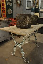 Garden Bistro Table Antique Garden Bistro Table With Green Iron Base And Marble