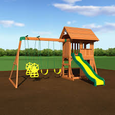 alpine wooden swing set with assembly