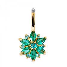 flower emerald rings images 316l stainless steel green flower crystal navel bars gold belly jpeg
