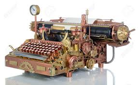 steampunk style future typewriter hand home made model stock