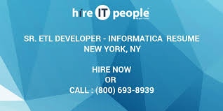 Sample Informatica Etl Developer Resume by Sr Etl Developer Informatica Resume New York Ny Hire It