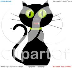 cat fangs halloween royalty free rf clipart illustration of a creepy black cat with