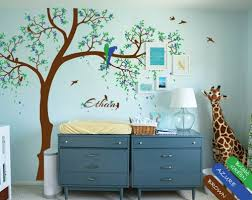 Custom Nursery Wall Decals Tree Wall Decal Personalized Nursery Mural Stickers Parrots