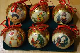 set 6 victorian christmas tree ornaments paper mache heirloom