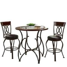 Rustic Bistro Table And Chairs Corliving Jericho 3 Rustic Brown Bar Stool And Bistro Table
