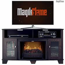 tv stand w realistic fireplace insert