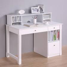 unique white computer desk with fantastic bookshelf and cool