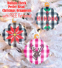 buffalo check perler bead christmas ornaments the scrap shoppe