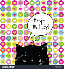 happy birthday card cat character template stock vector 575885446