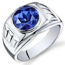 silver ring for men mens 5 50 carats created blue sapphire ring sterling silver sizes