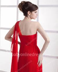 red womens party evening dresses for sale one shoulder ruffle