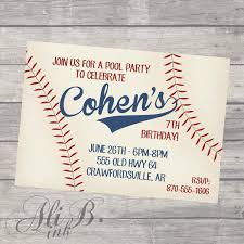 baseball party birthday printable invitation