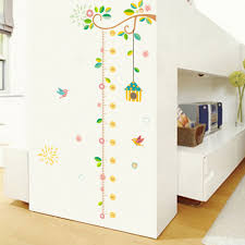 family tree height measure wall sticker for kids room birds growth