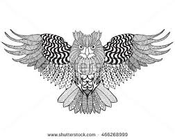 Patterned Flying Owl Drawing Illustration Eagle Owl Antistress Coloring Page Stock Vector 466268999