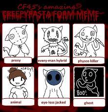 Creepypasta Memes - creepypasta form meme by sushi cat3 on deviantart