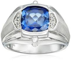 blue sapphires rings images Men 39 s sterling silver created blue sapphire and created white jpg