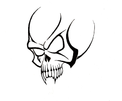 black outline skull tattoo stencil real photo pictures images