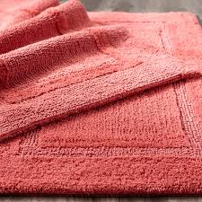 Coral Color Bathroom Rugs Pink Reversible Cotton Bath Rug Coral 27x45 Decor Rugs