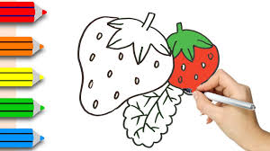 coloring pages strawberry u0026 drawing for children how to color by