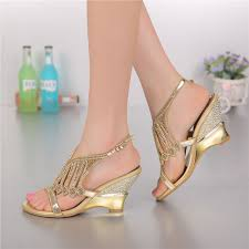wedding shoes size 11 2018 summer style gold coloured high heeled sandals rhinestone