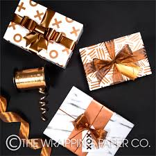 copper wrapping paper wrapco xox copper on white copper dashes and marble gift wrap