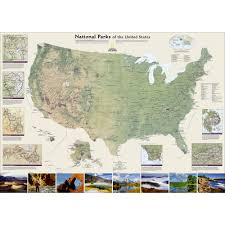United States Maps by United States National Parks Wall Map Laminated National