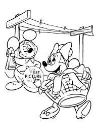mickey mouse washing coloring pages for kids printable free
