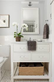 Mirrored Subway Tile Backsplash Bathroom Transitional With by Clean And Classic Bathroom With Pale Gray Walls White Subway Tile