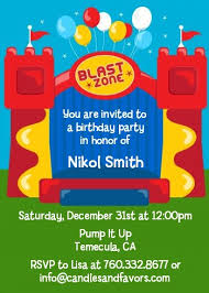 bounce house birthday invitations candles and favors