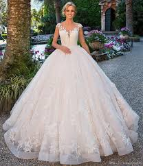 elegant blush lace ball gown wedding dresses cap sleeves appliques