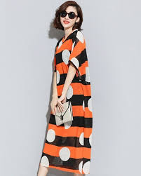 polka dot t shirt dress for women orange stripe maxi dress knitted