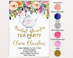 tea party bridal shower invitations tea party bridal shower invitation etsy