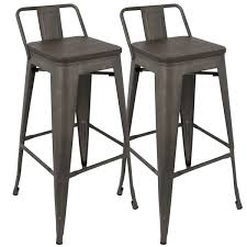 30 Inch Bar Stool With Back Oregon Industrial Low Back 30 Inch Barstool By Lumisource Set Of