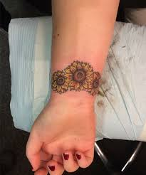 most beautiful sunflower wristband tattoo design for girls love