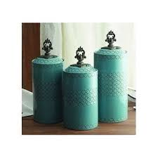 canister set blue ceramic 3 piece asian kitchen counter jars