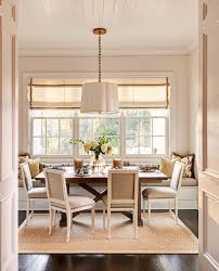 banquette dining seating dining room traditional with drum pendant