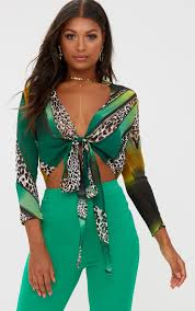 green mixed animal print tie front shirt tops prettylittlething