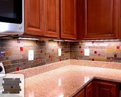 rusty slate subway mosaic red glass kitchen backsplash tile red