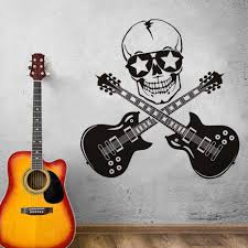 online get cheap guitar wall murals aliexpress com alibaba group cool creative design funny wall stickers skull and guitar art vinyl bedroom decor wall mural guitar