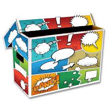 bcw cardboard comic book storage box with pow design ebay