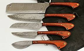custom made kitchen knives amazon com custom made damascus steel 5 pcs professional kitchen