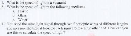 what is the speed of light solved 1 what is the speed of light in a vacuum 2 what
