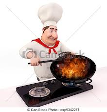 logo chef de cuisine smiling chef is cooking 3d illustration of chef is cooking