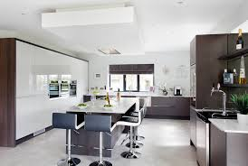 walnut and gloss white contemporary kitchen