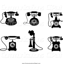 Desk Telephones Communication Clipart Of Black And White Vintage Desk Telephones