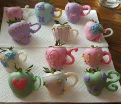 White Chocolate Strawberries And Pretzels Strawberry Chocolates Shaped Into Teapots And Teacups Tea